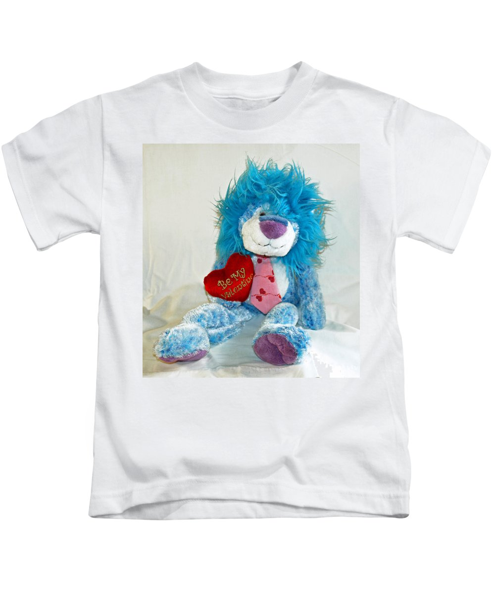 Love; Hope; Hoping; Man; Male; Lion; Blue; Stuffed; Animal; Heart; Valentine; Hopeful; Lover; Suitor Kids T-Shirt featuring the photograph Hoping For Love by Allan Hughes