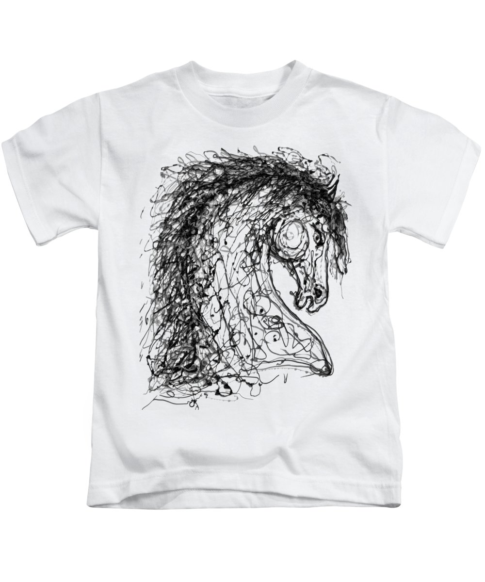Kids T-Shirt featuring the digital art Horse Dripped Abstract Pollock Style On #fineartamerica by OLena Art - Lena Owens