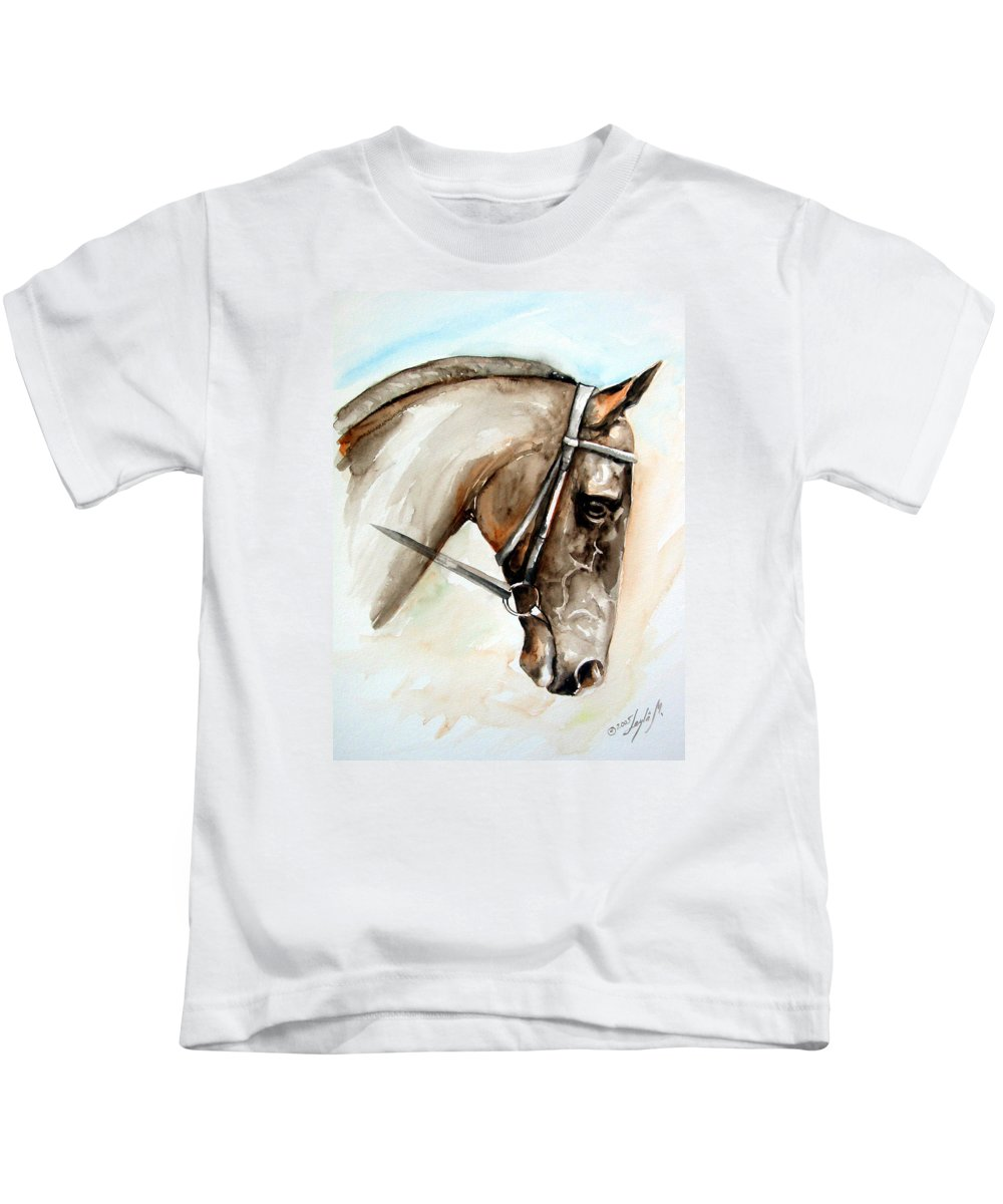 Horse Kids T-Shirt featuring the painting Horse Head by Leyla Munteanu