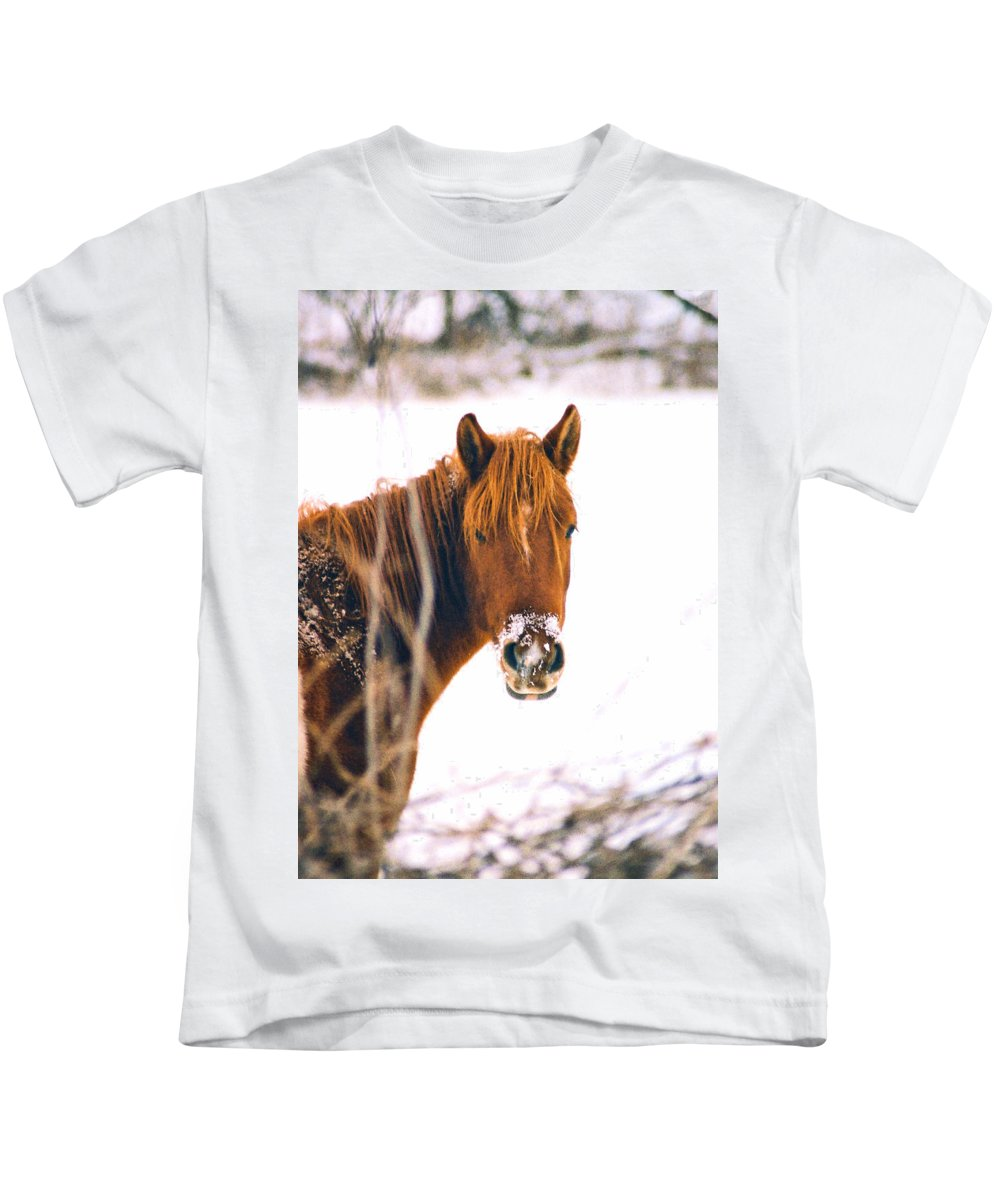Horse Kids T-Shirt featuring the photograph Horse In Winter by Steve Karol