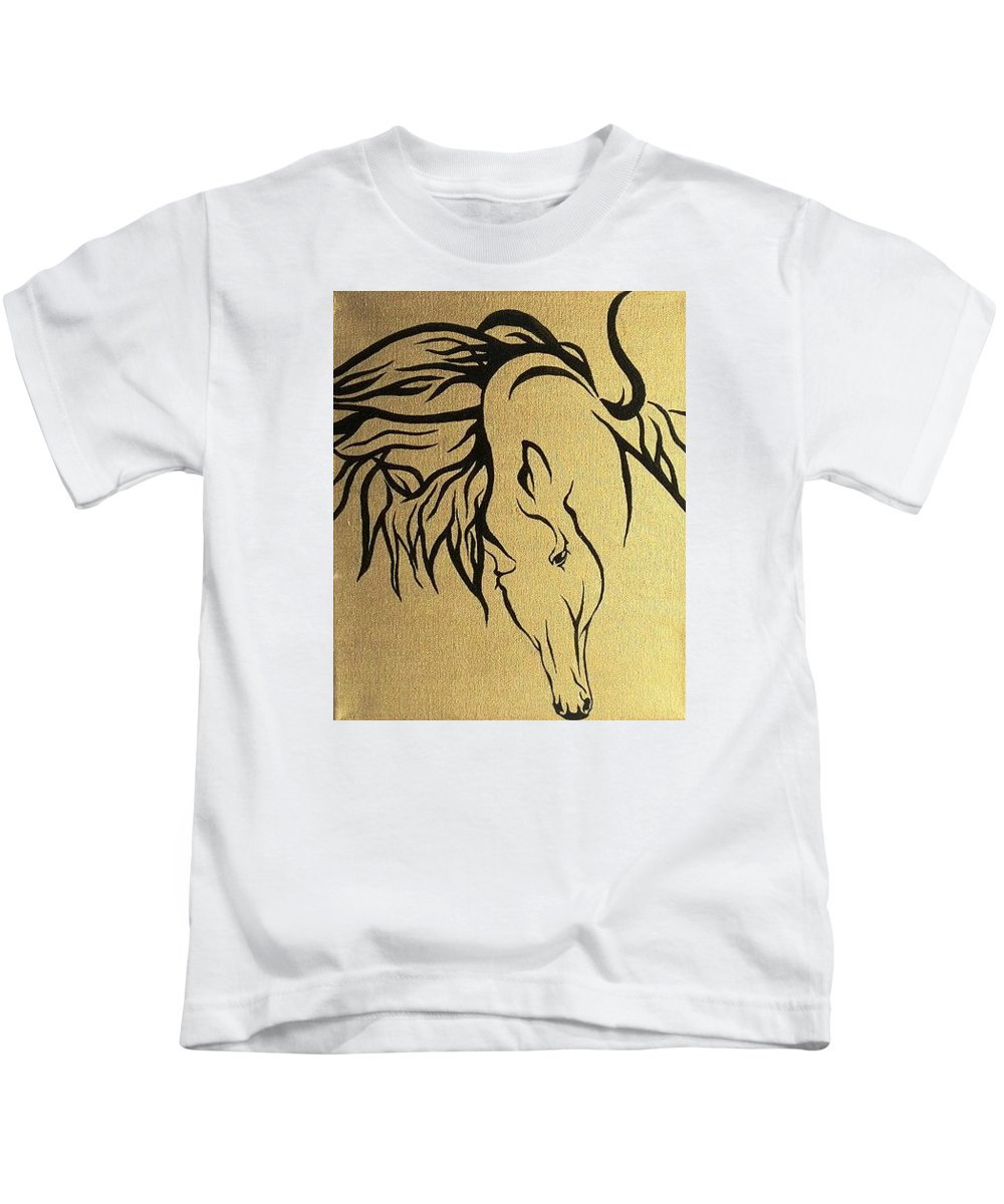 Horse Kids T-Shirt featuring the painting Horse by Sigita Smetonaite