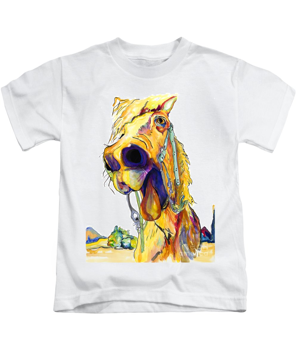 Animal Painting Kids T-Shirt featuring the painting Horsing Around by Pat Saunders-White