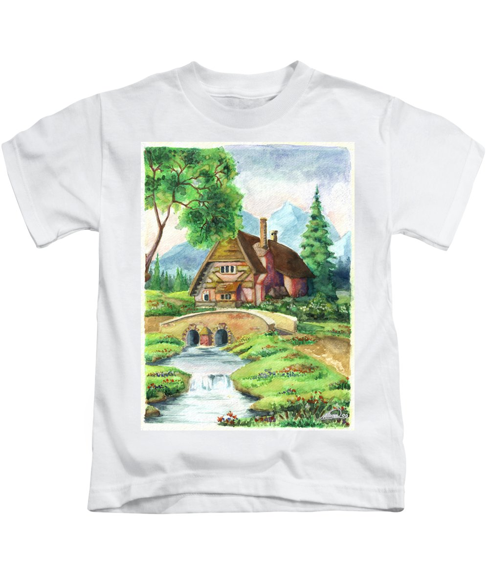 House Kids T-Shirt featuring the painting House Along The River by Alban Dizdari
