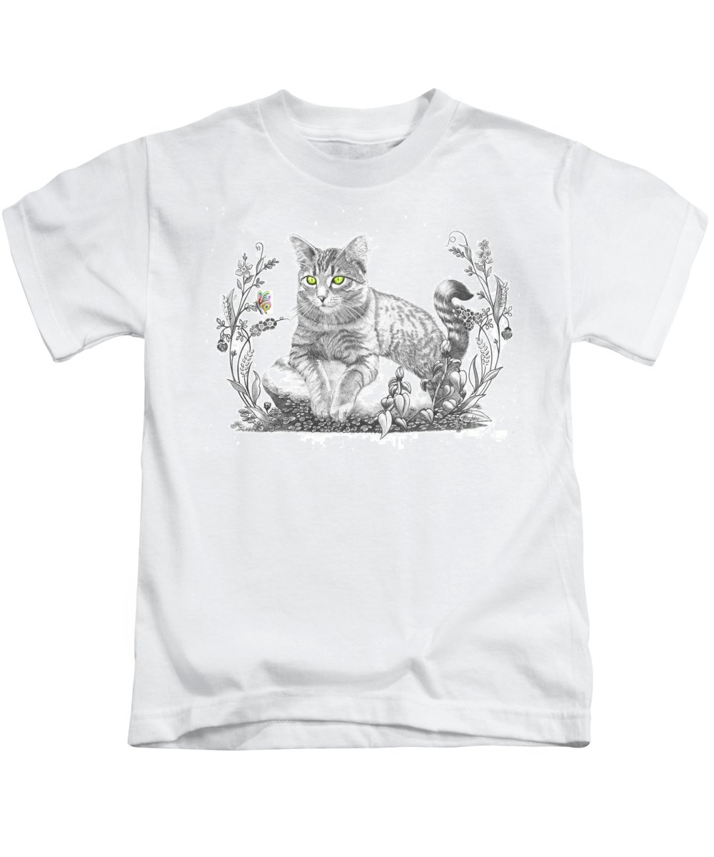 Cat Kids T-Shirt featuring the drawing House Cat by Murphy Elliott