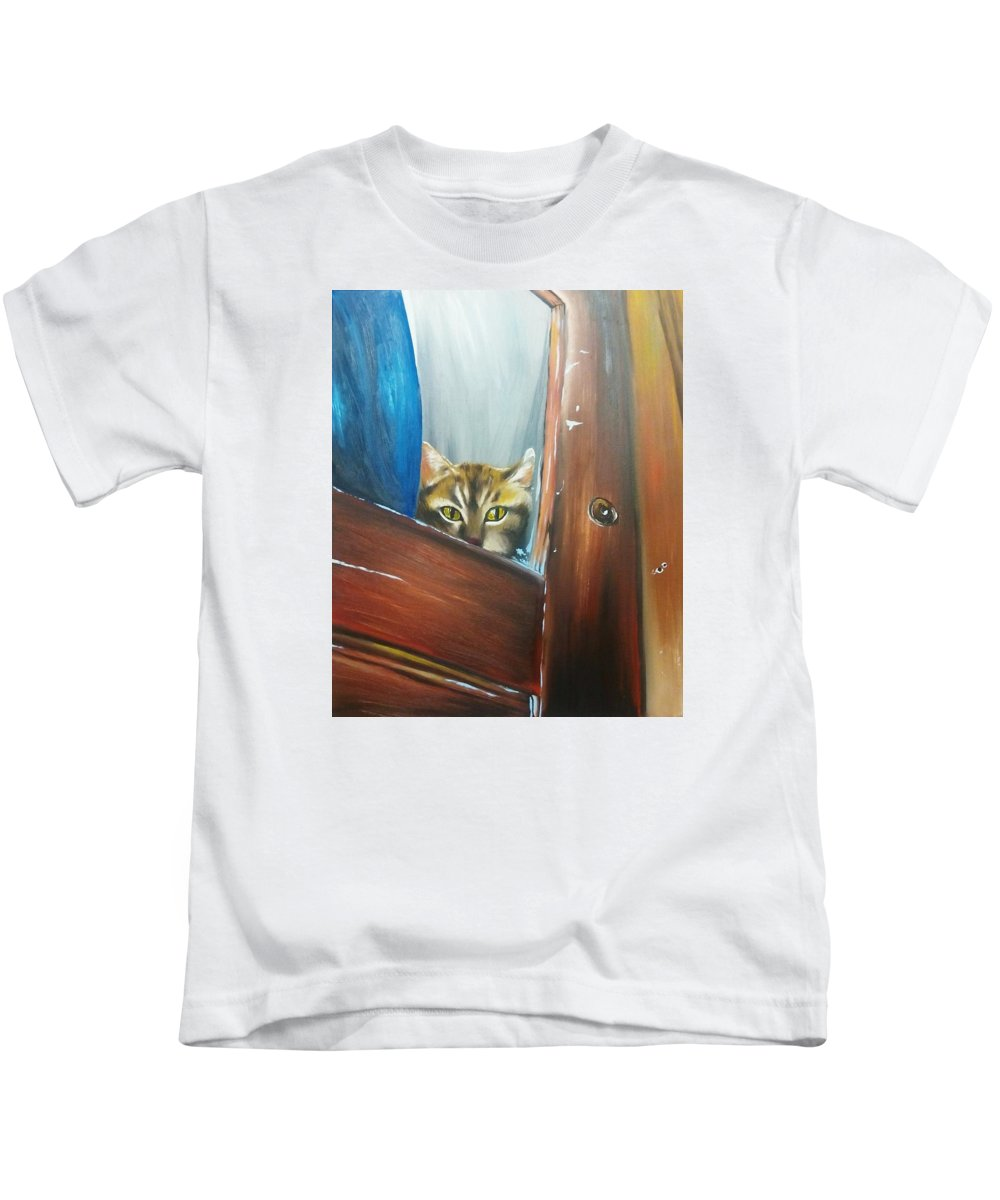 Cat Kids T-Shirt featuring the painting House Hunter by Corina Castillo