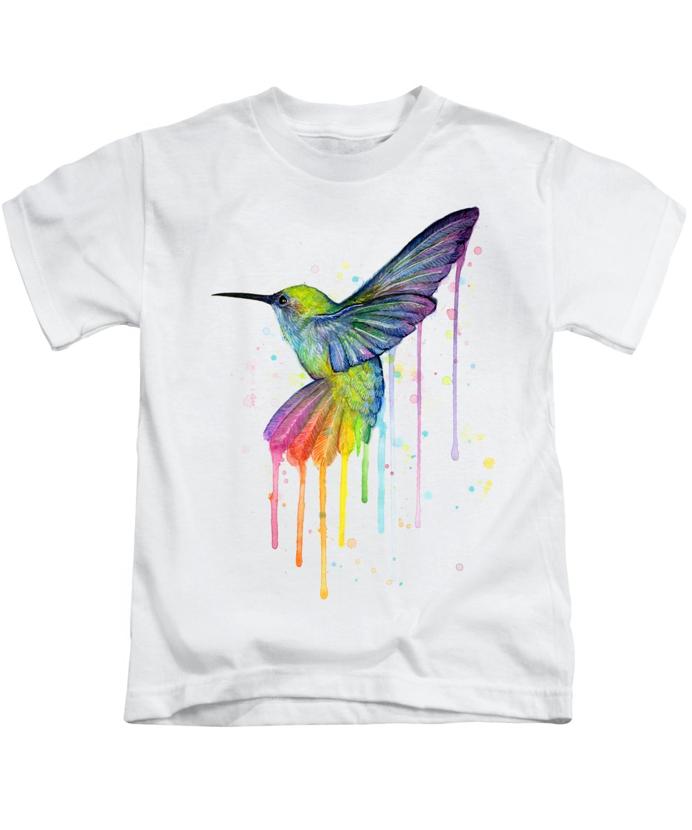 Hummingbird Kids T-Shirt featuring the painting Hummingbird of Watercolor Rainbow by Olga Shvartsur