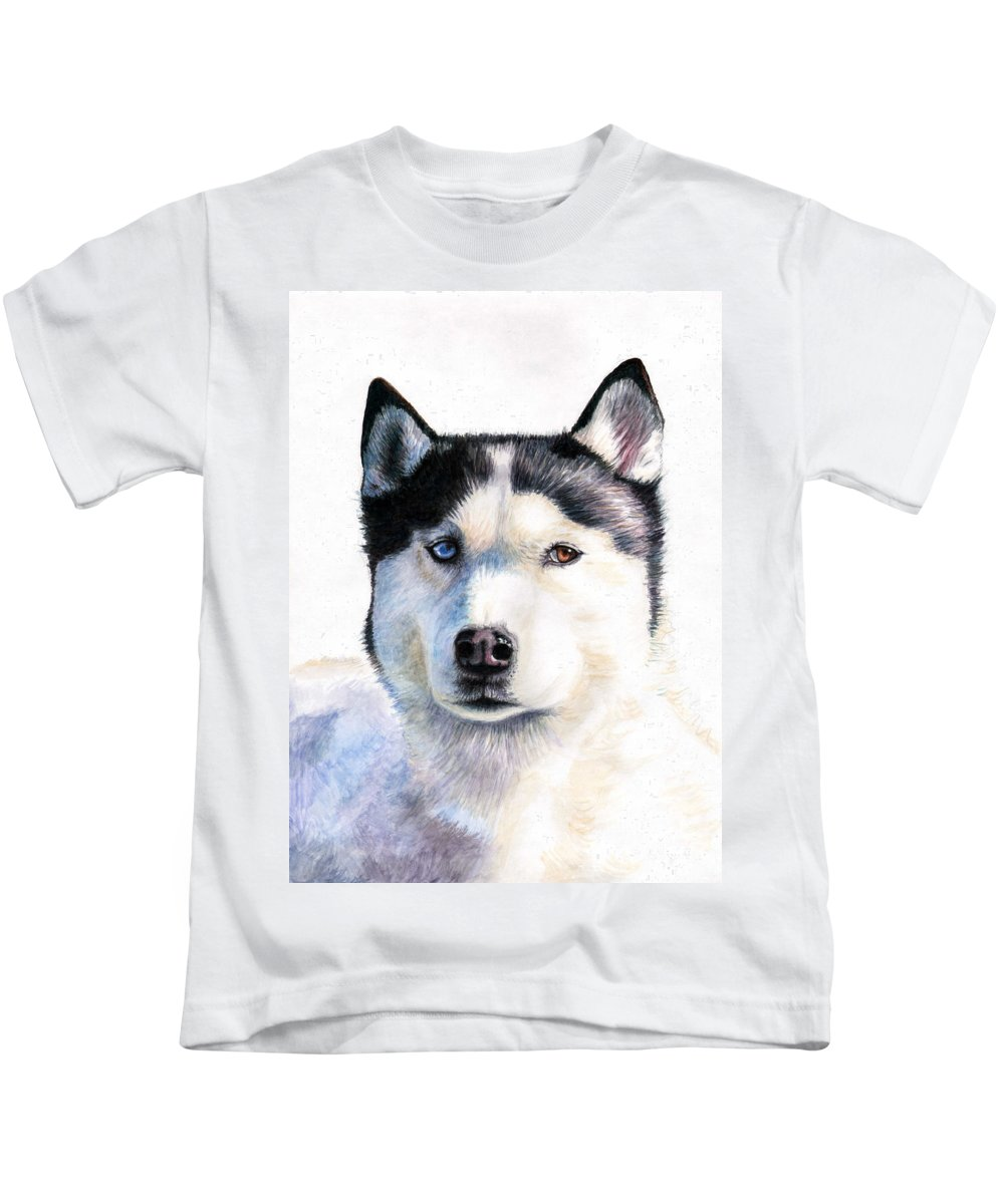 Dog Kids T-Shirt featuring the painting Husky Blue by Nicole Zeug