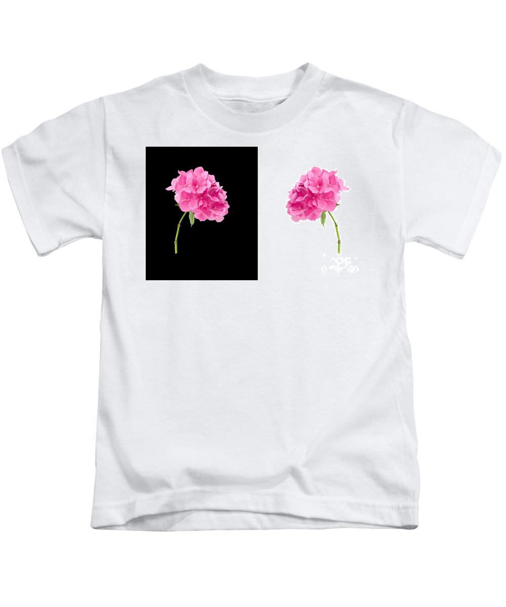 Background Kids T-Shirt featuring the photograph Hydrangeas On Black And White by Meirion Matthias