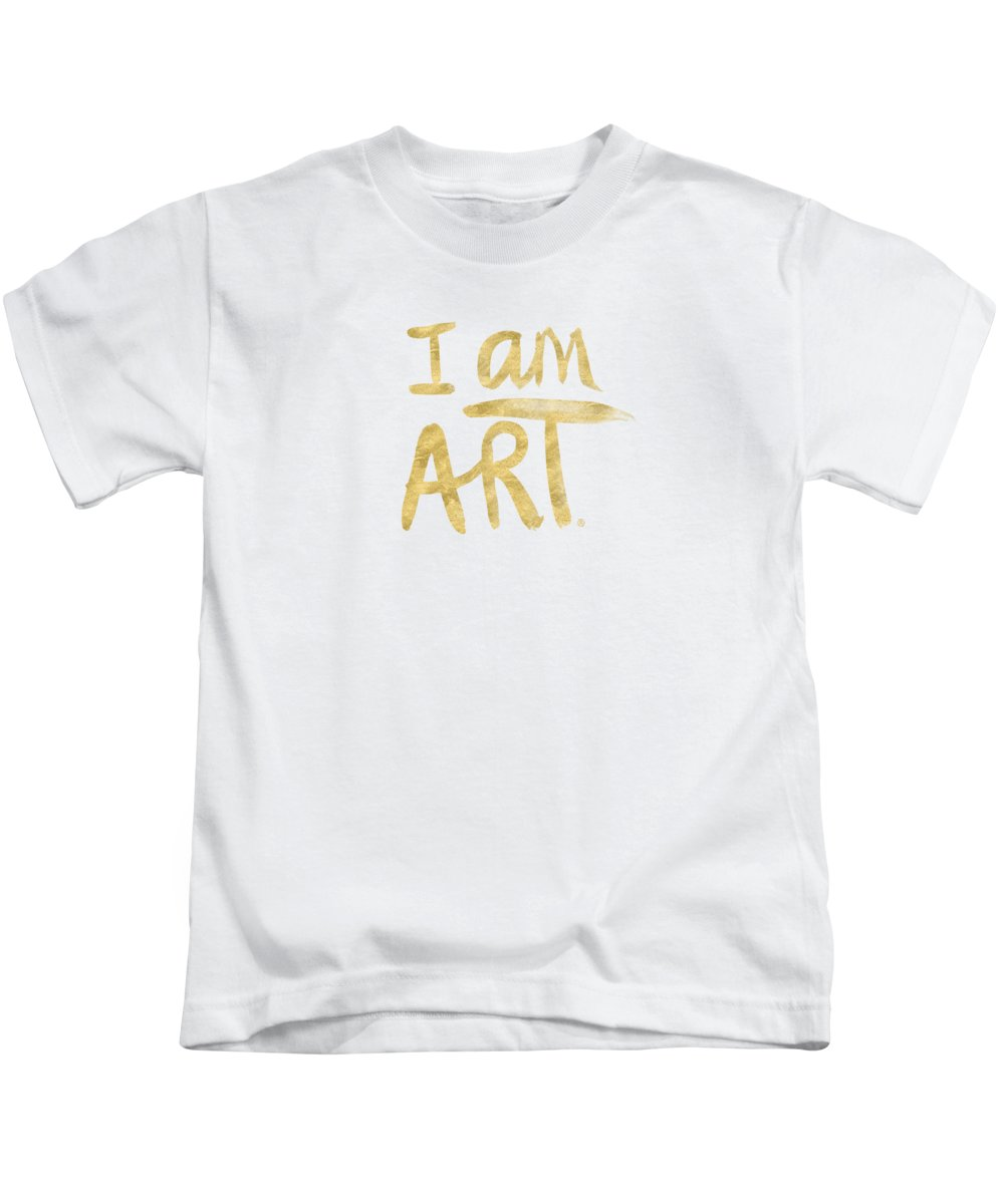 I Am Art Kids T-Shirt featuring the painting I Am Art Gold - Art By Linda Woods by Linda Woods