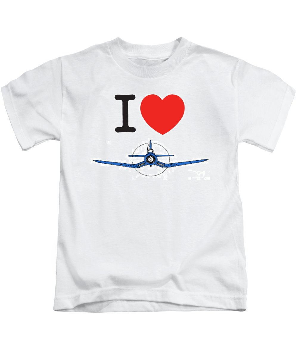 Corsair Kids T-Shirt featuring the photograph I Love Corsairs by Craig Kelsay