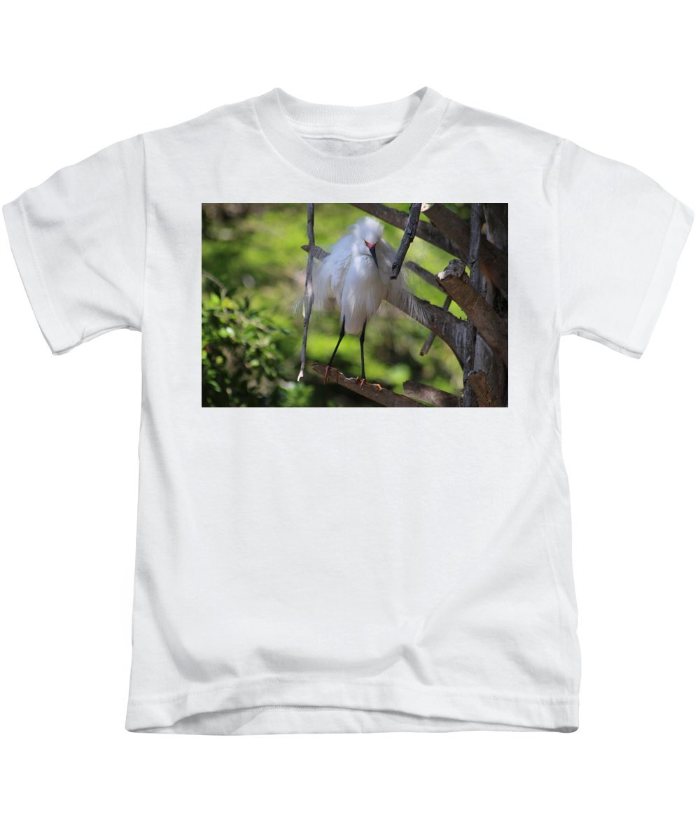Fluffed Bird Kids T-Shirt featuring the photograph I Need Coffee by Beverly Cummiskey