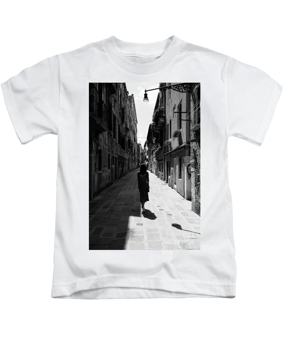 Black And White Kids T-Shirt featuring the photograph I Take You Around by Yuri San