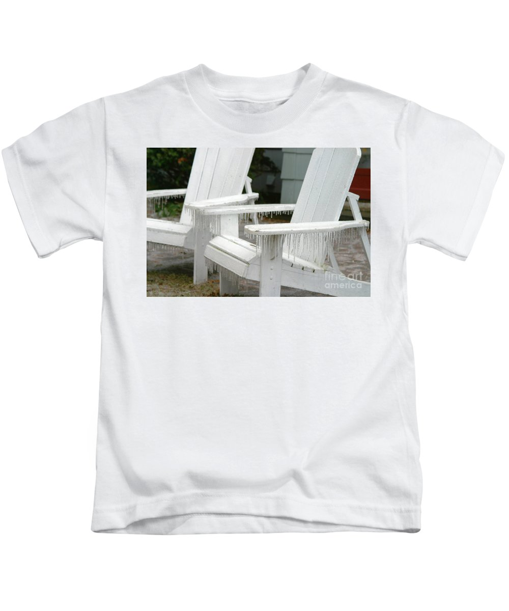 Ice Storm Kids T-Shirt featuring the photograph Ice-coated Chairs by Ted Kinsman