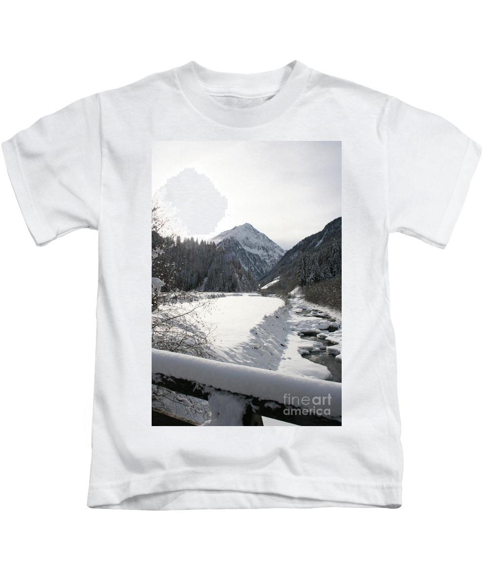 River Kids T-Shirt featuring the photograph Iced River by Christiane Schulze Art And Photography