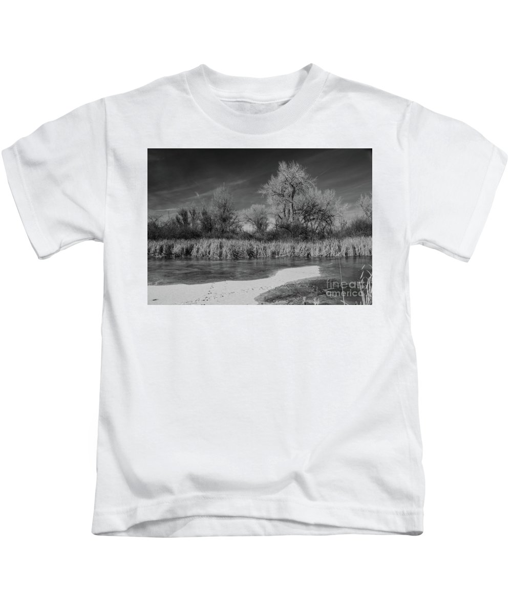 Landscape Kids T-Shirt featuring the photograph Icy Marsh by James Redland Anderson