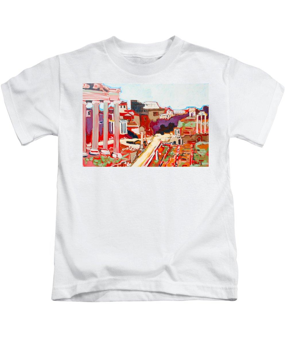 Rome Kids T-Shirt featuring the painting Il Foro Romano by Kurt Hausmann