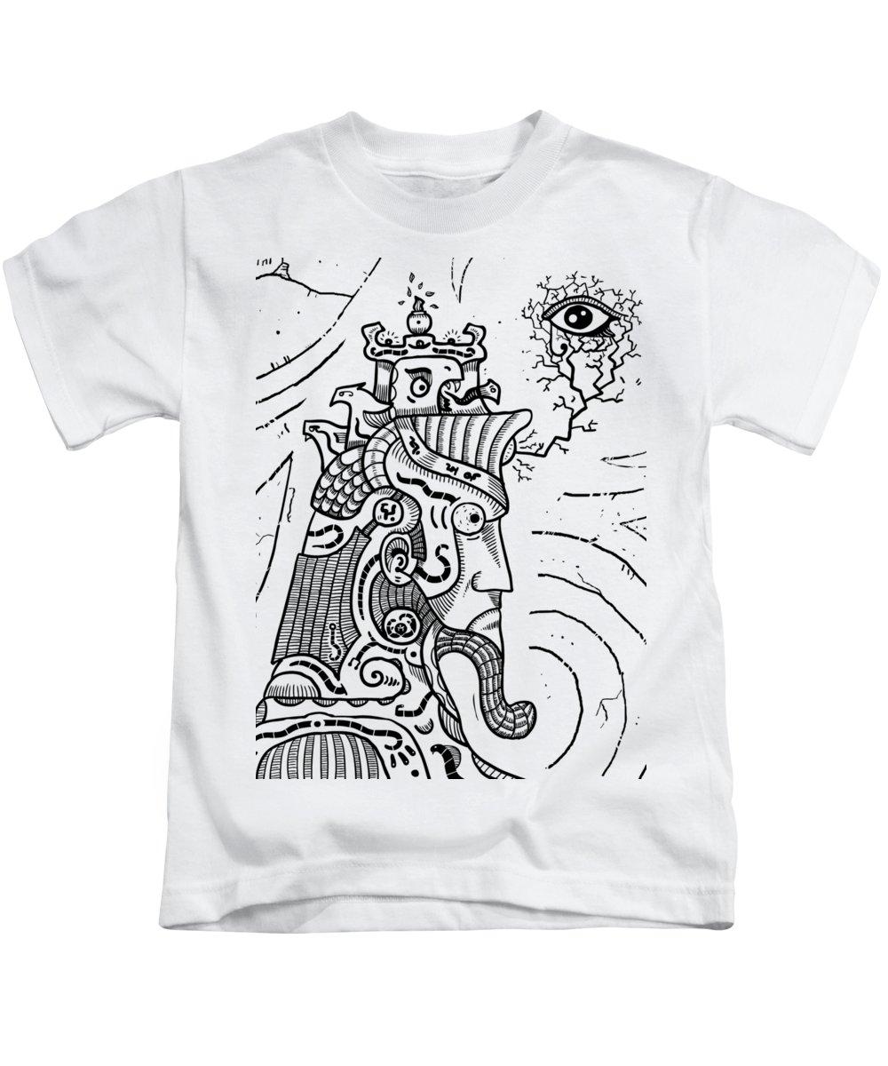 Art Kids T-Shirt featuring the drawing Surrealism Illuminati Black And White by Sotuland Art