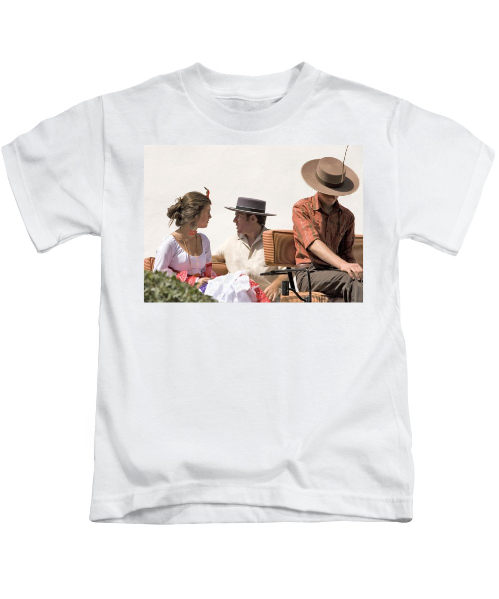 Flamenco Kids T-Shirt featuring the photograph In Flamenco Dress For The Bullfight by Mal Bray