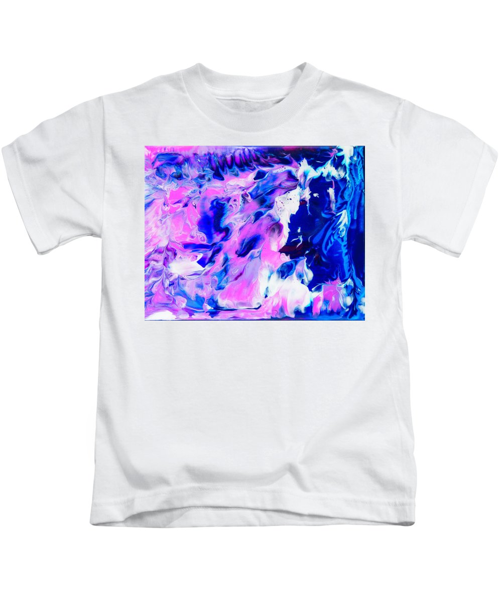 Abstract Kids T-Shirt featuring the painting In The Beginning by Angie Harris