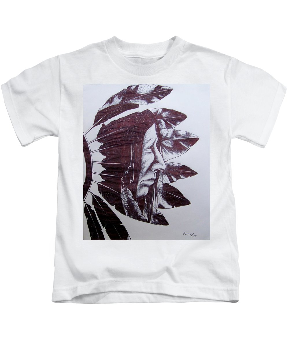 Indian Feathers Kids T-Shirt featuring the drawing Indian Feathers by Michael TMAD Finney