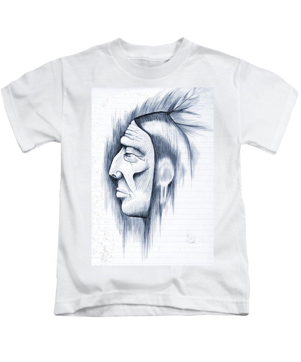 Kids T-Shirt featuring the digital art Indian by Nicholas Burningham