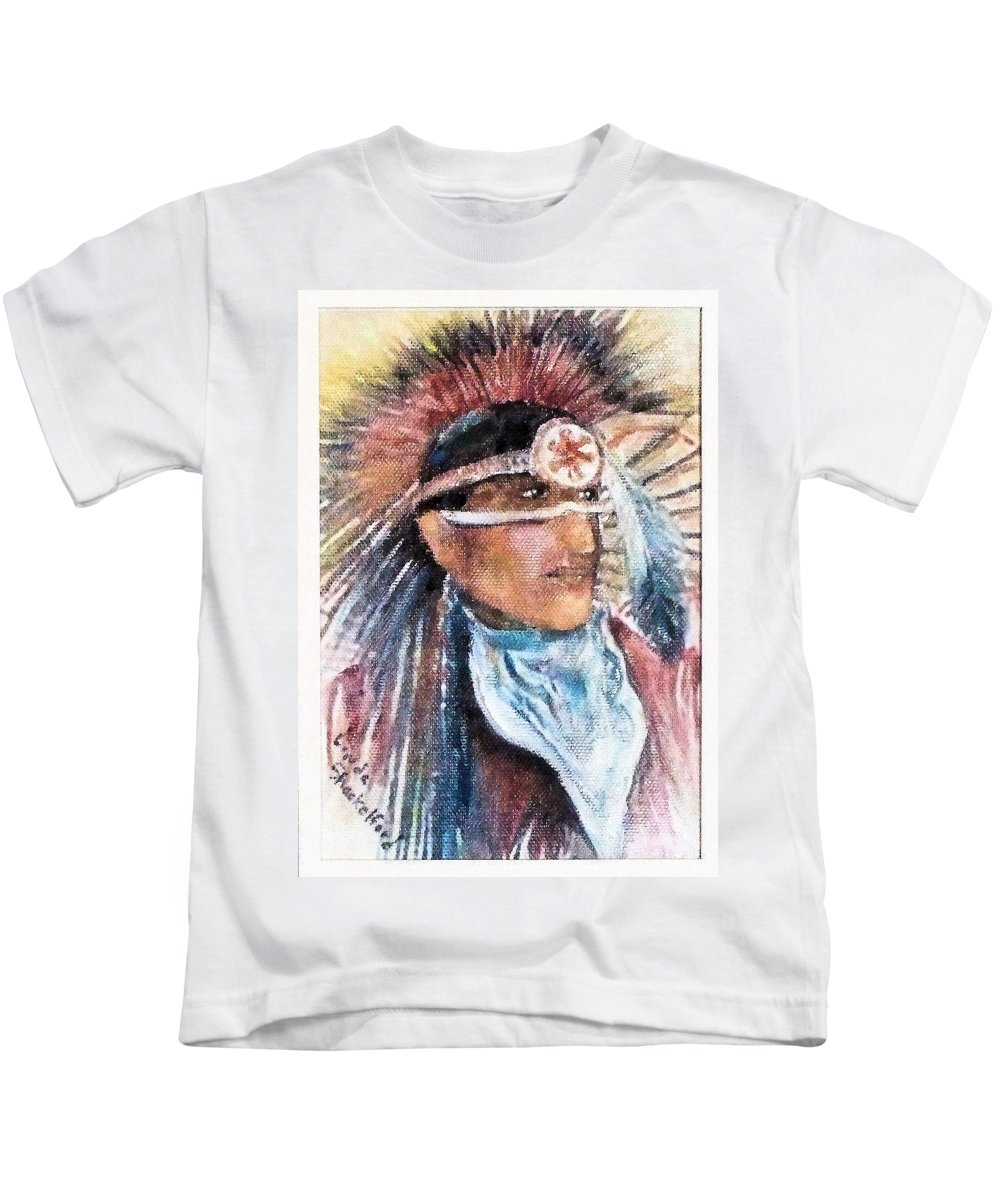 Oklahoma Kids T-Shirt featuring the painting Indian Portrait by Linda Shackelford
