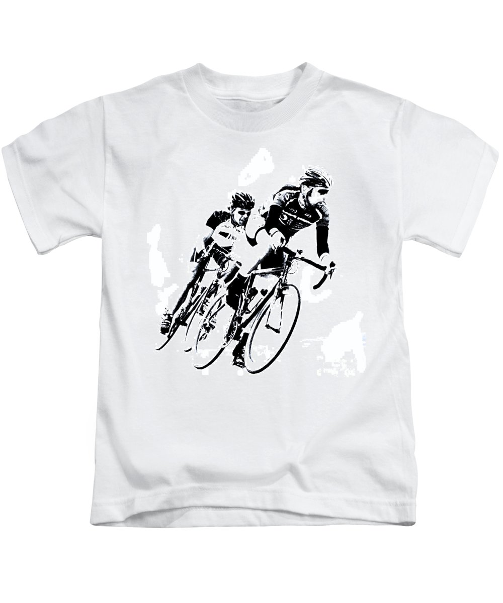 Cycle Kids T-Shirt featuring the digital art Into The Curve by Mark Hendrickson