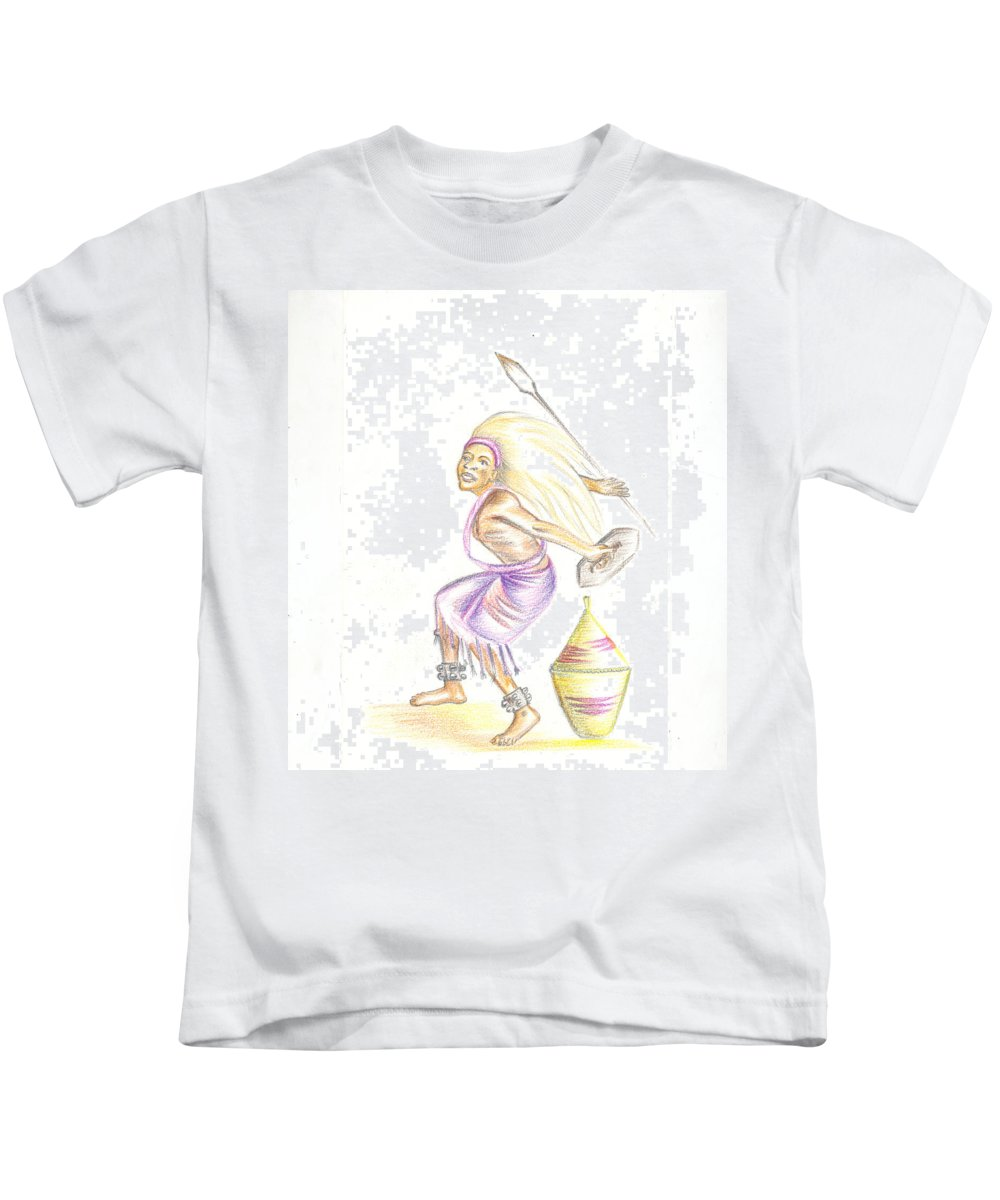 Barry Art Kids T-Shirt featuring the painting Intore Dance 2 From Rwanda by Emmanuel Baliyanga