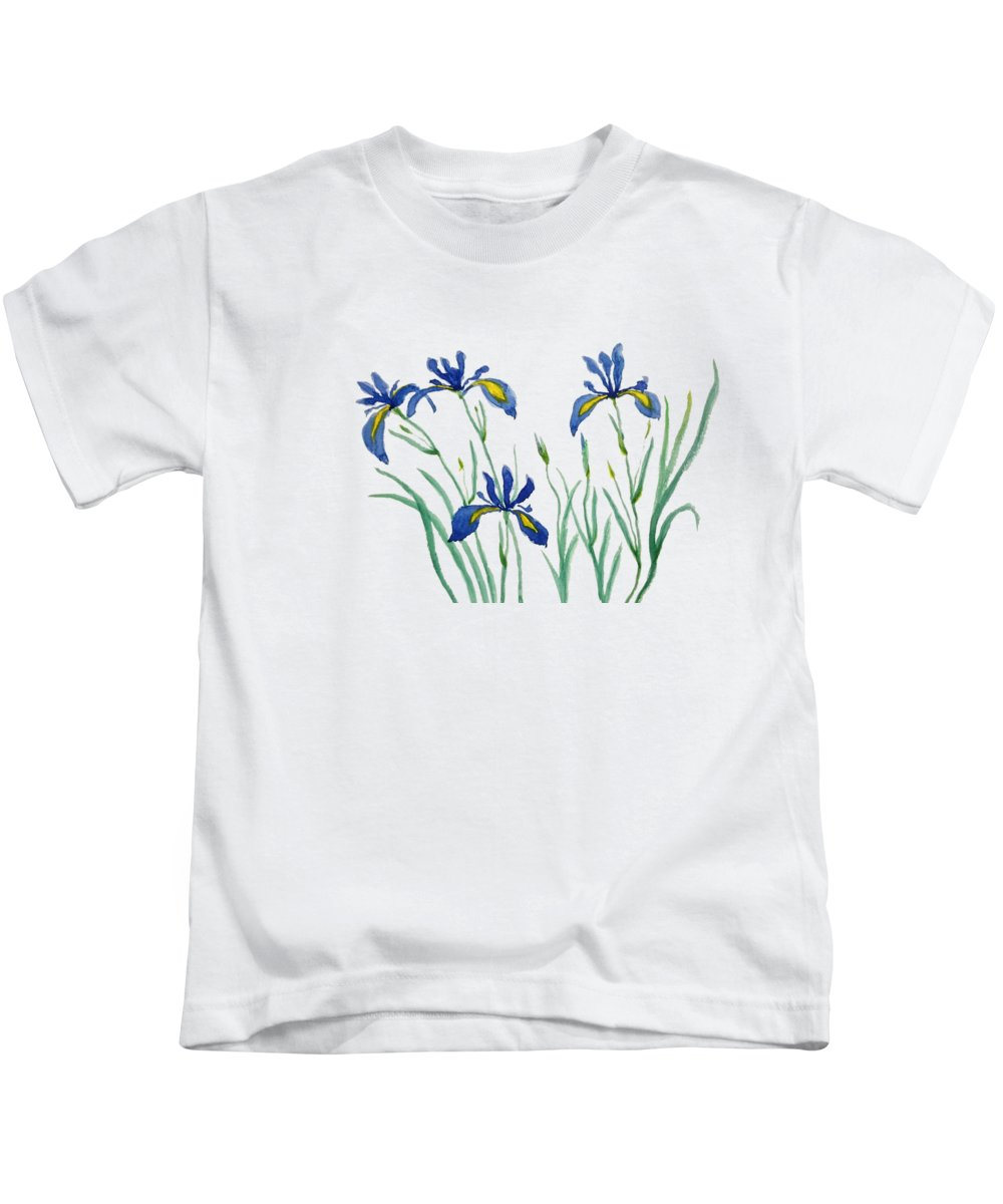 Watercolor Flowers Kids T-Shirt featuring the painting Iris In Japanese Style by Color Color