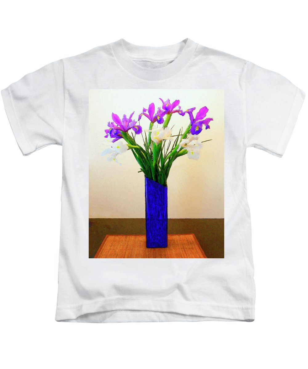 Irises Kids T-Shirt featuring the painting Irises by Dominic Piperata
