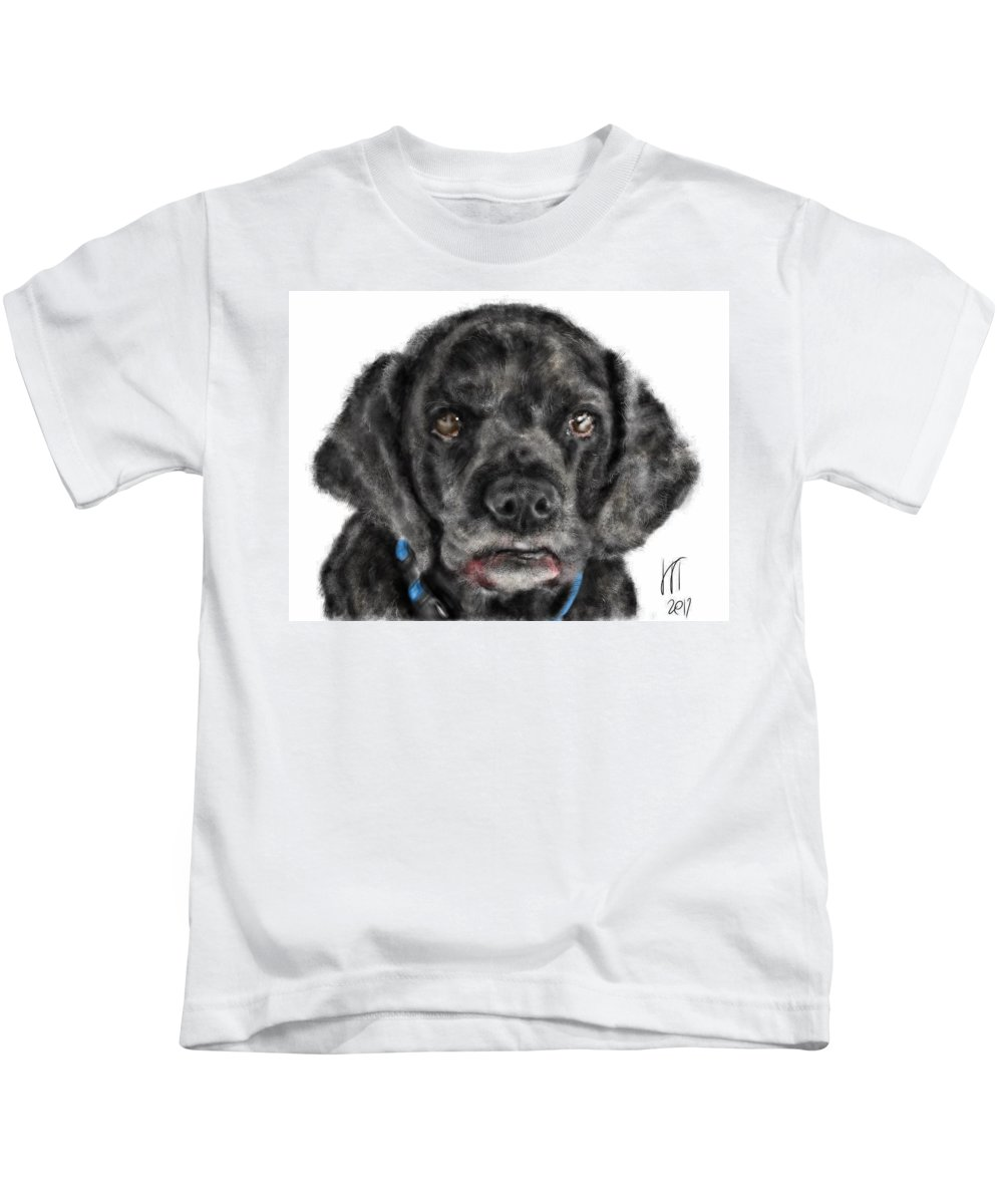 Dog Kids T-Shirt featuring the digital art It Was So Nice Knowing You by Lois Ivancin Tavaf