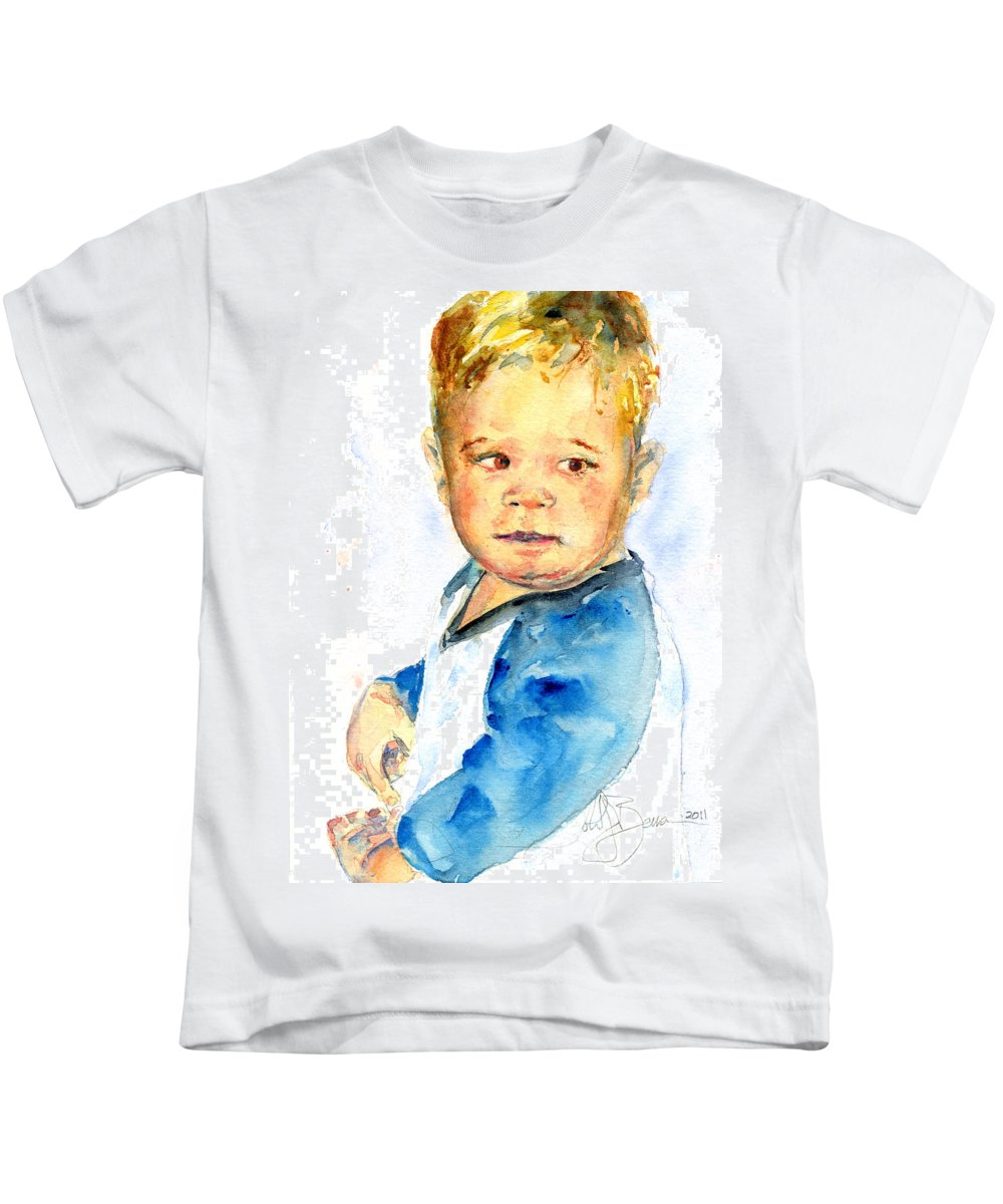 Portrait Kids T-Shirt featuring the painting Jack by John D Benson