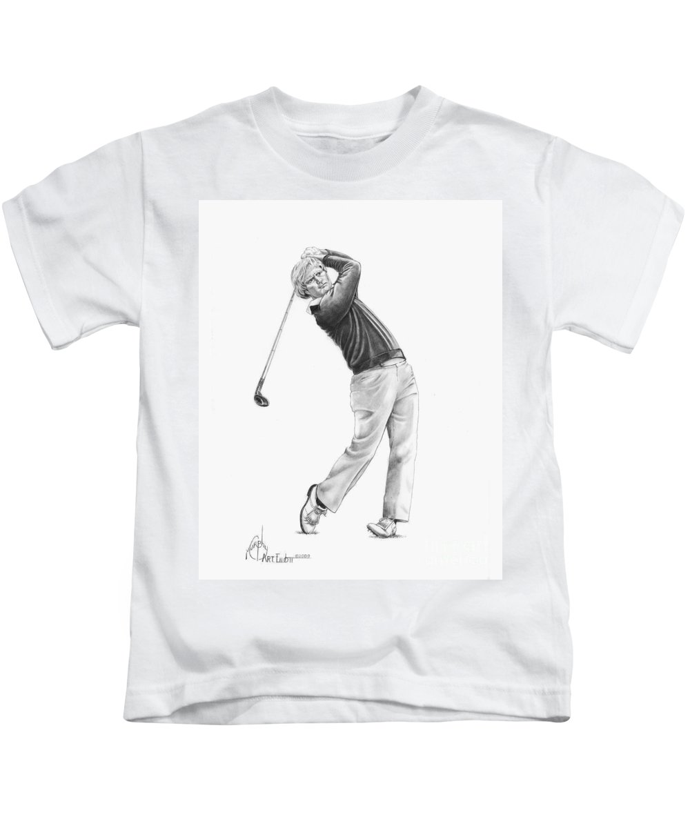 Jack Nickolas Kids T-Shirt featuring the drawing Jacl Nicklaus by Murphy Elliott