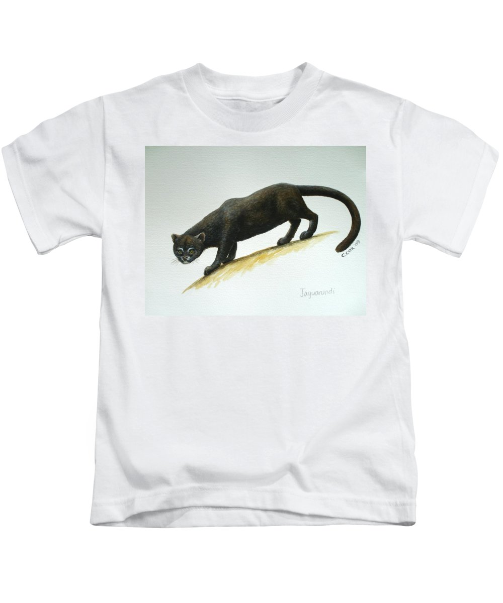 Jaguarundi Kids T-Shirt featuring the painting Jaguarundi by Christopher Cox