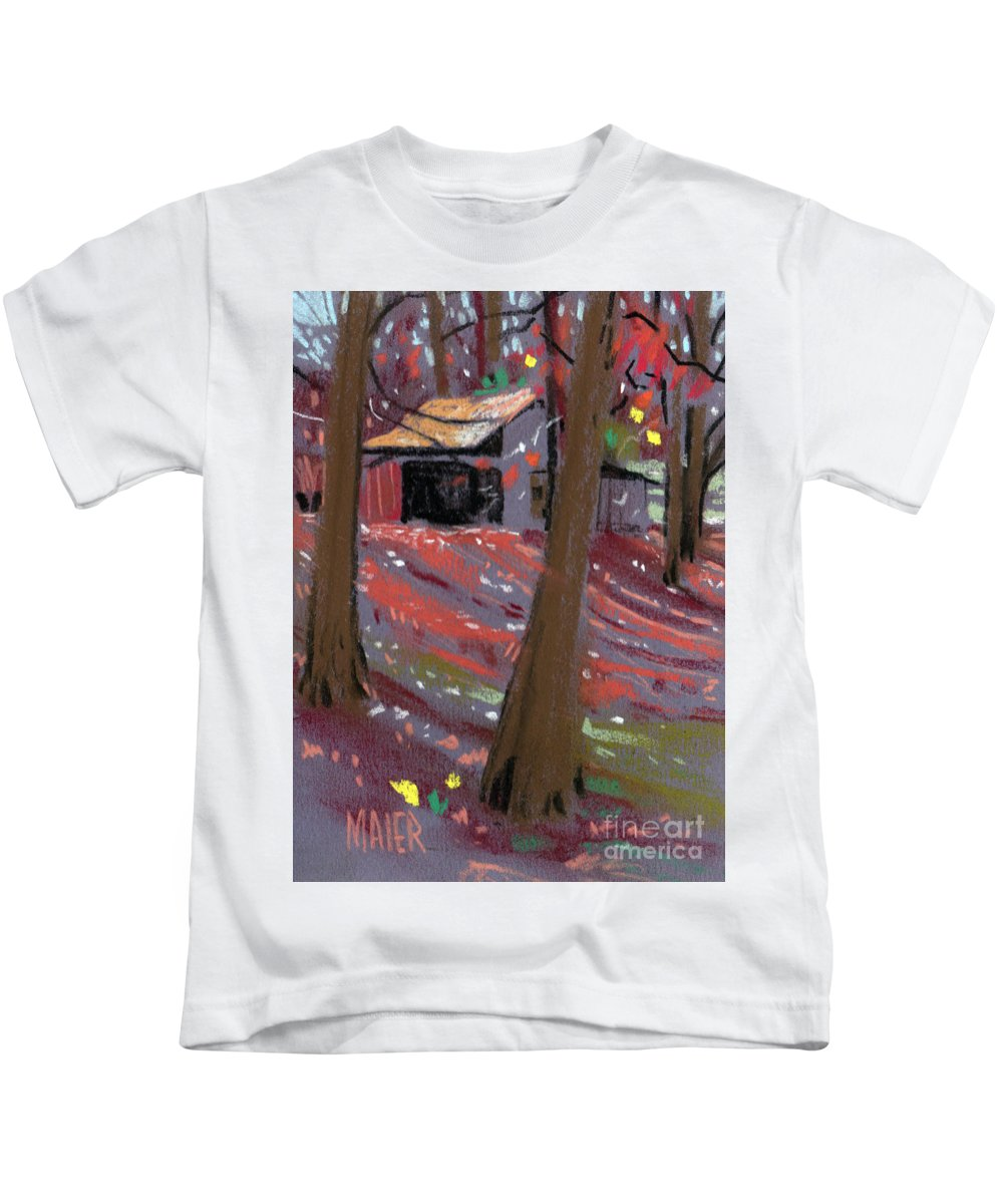 Barns Kids T-Shirt featuring the drawing James's Barns 3 by Donald Maier