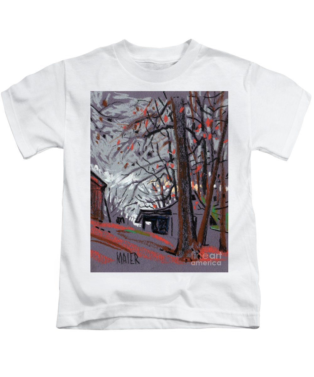 Barns Kids T-Shirt featuring the drawing James's Barns 7 by Donald Maier