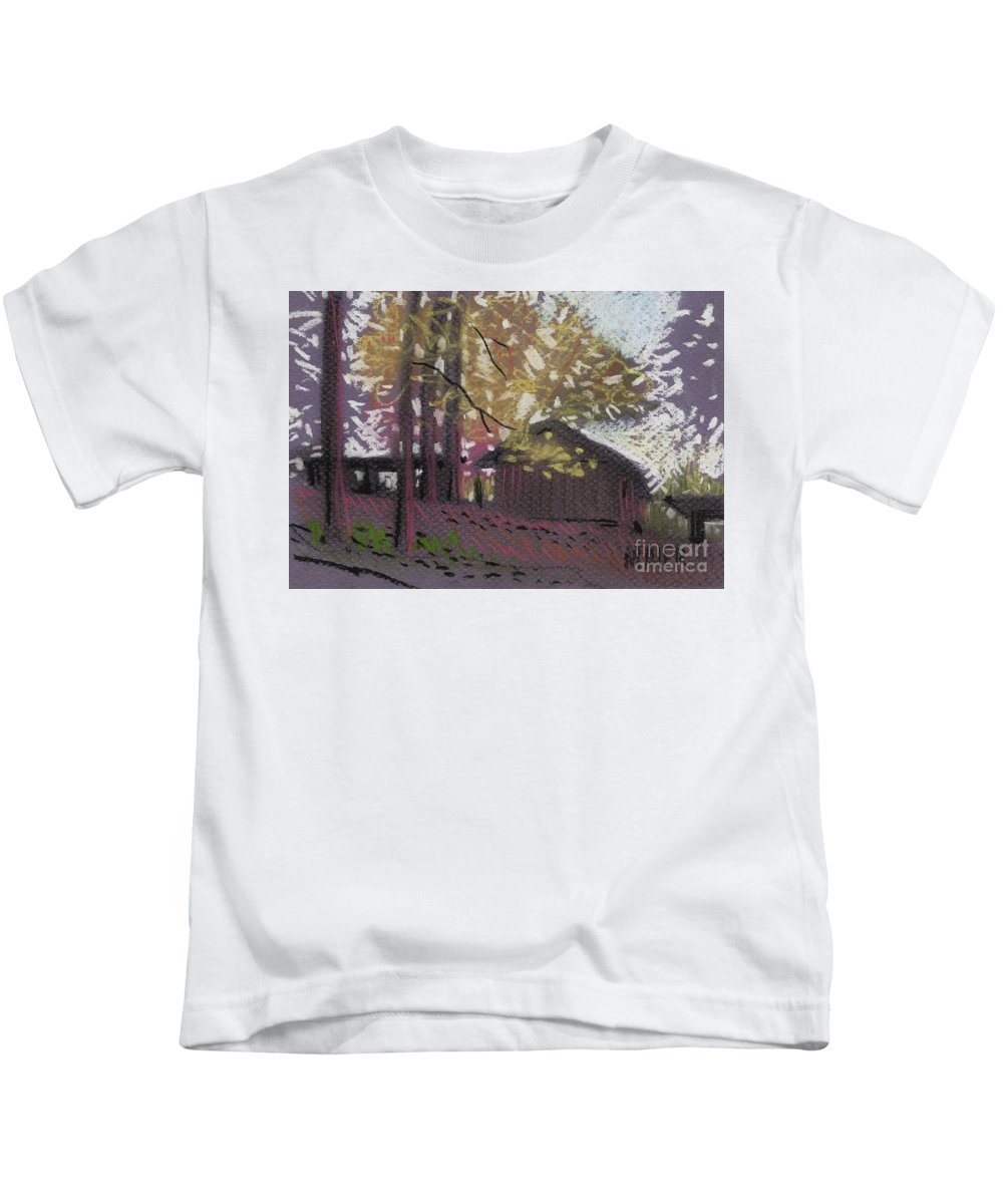 Pastel Kids T-Shirt featuring the drawing James's Barns 9 by Donald Maier