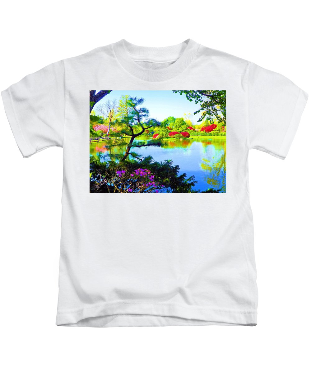 Print On Canvas Kids T-Shirt featuring the painting Japanese Garden In Spring by Susanna Katherine