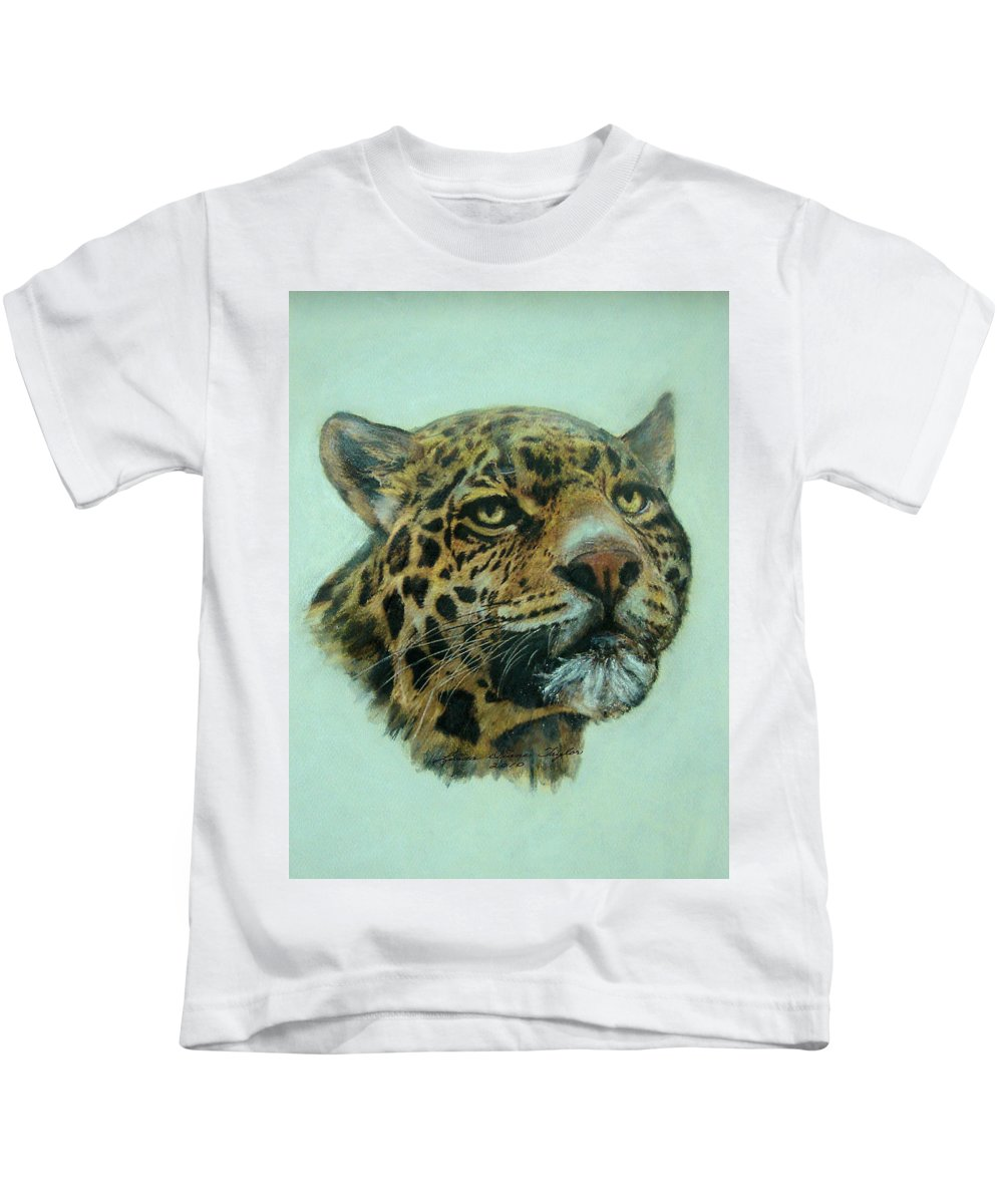 Jaquar Kids T-Shirt featuring the painting Jaquar by Linda Diane Taylor