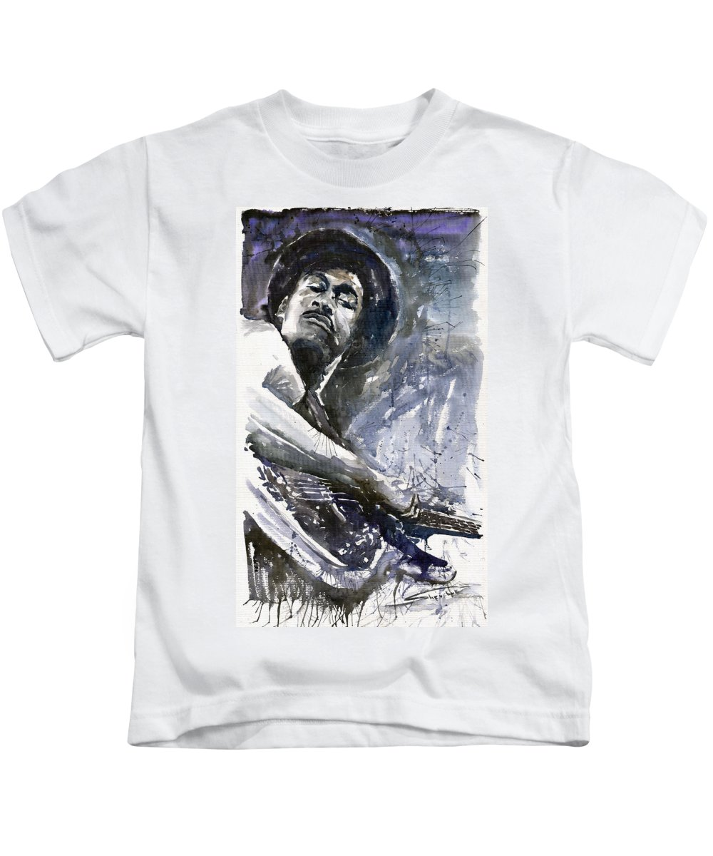 Jazz Kids T-Shirt featuring the painting Jazz Marcus Miller 01 by Yuriy Shevchuk