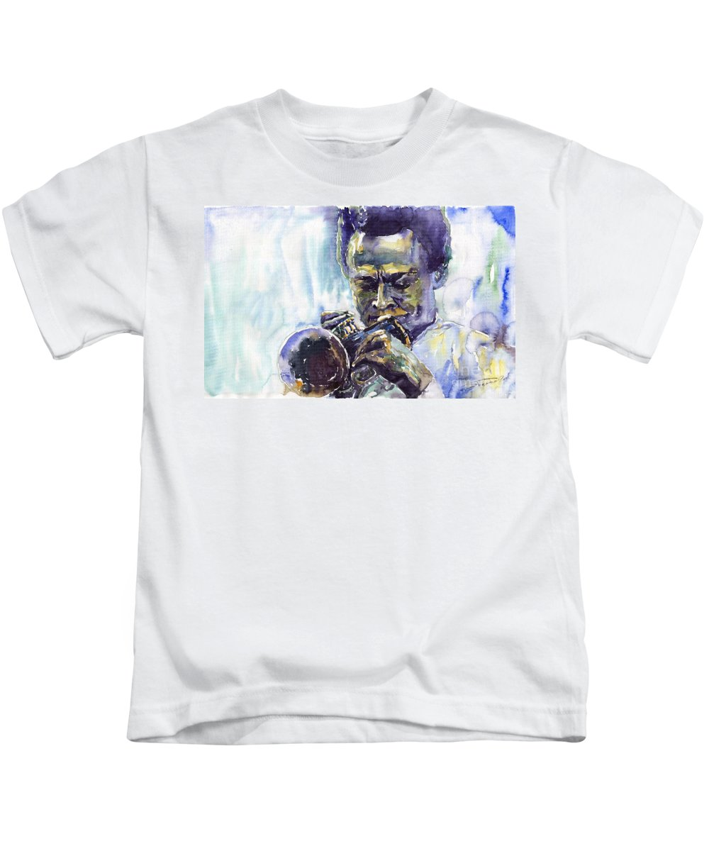 Jazz Miles Davis Music Musiciant Trumpeter Portret Kids T-Shirt featuring the painting Jazz Miles Davis 10 by Yuriy Shevchuk