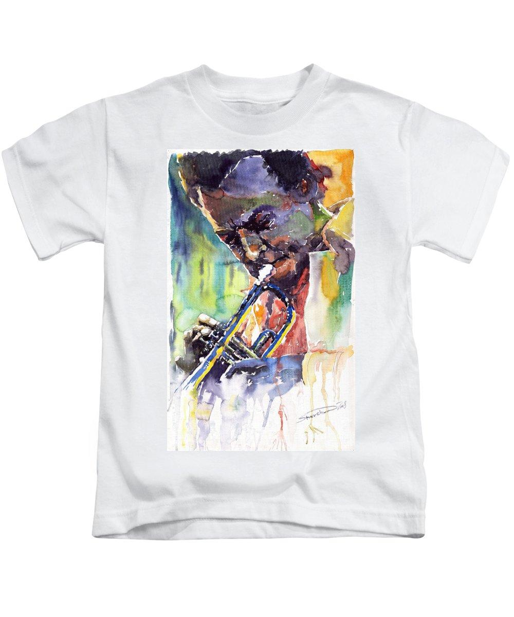 Jazz Miles Davis Music Musiciant Trumpeter Portret Kids T-Shirt featuring the painting Jazz Miles Davis 9 Blue by Yuriy Shevchuk
