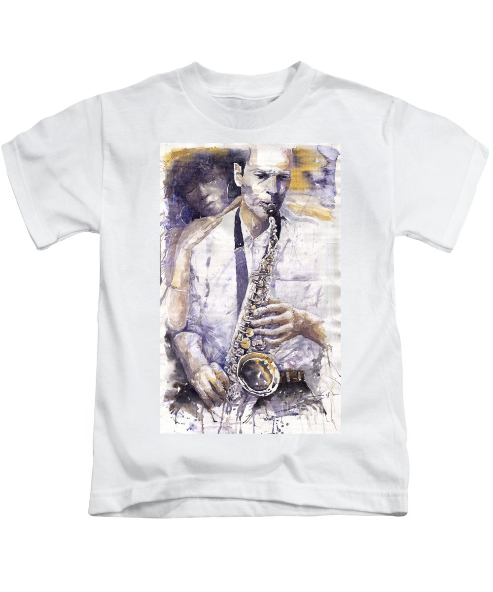 Jazz Kids T-Shirt featuring the painting Jazz Muza Saxophon by Yuriy Shevchuk