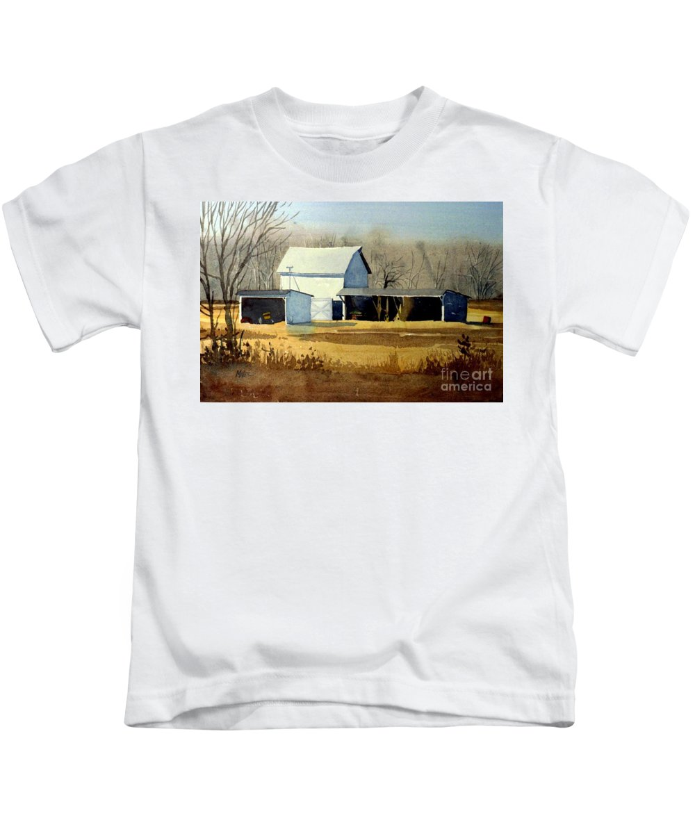Watercolor Kids T-Shirt featuring the painting Jersey Farm by Donald Maier