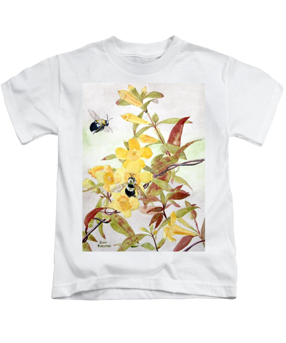 Jasmine Kids T-Shirt featuring the painting Jessamine Bee Mine by Jean Blackmer