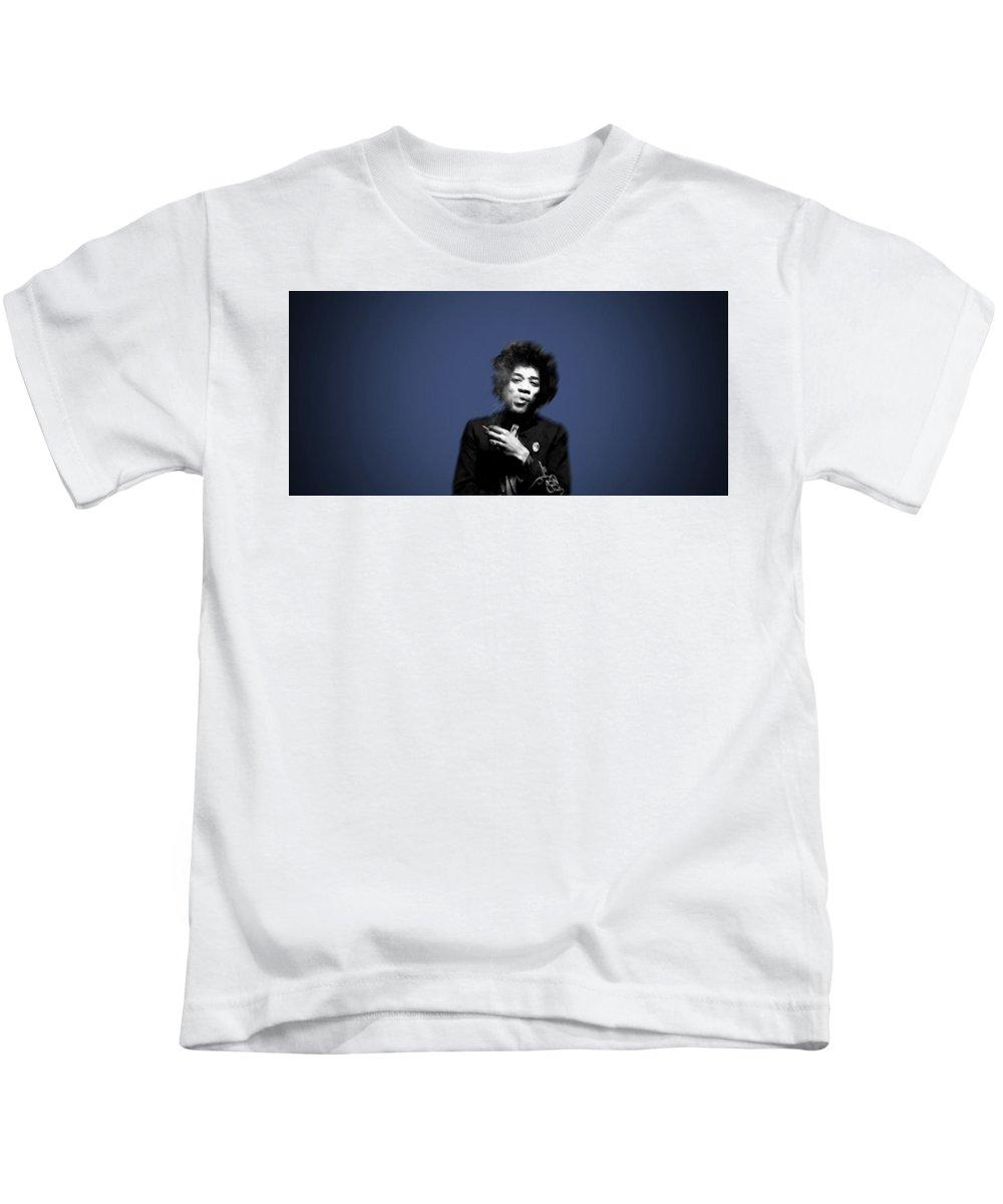Jimi Hendrix Kids T-Shirt featuring the digital art Jimi Hendrix by Dorothy Binder