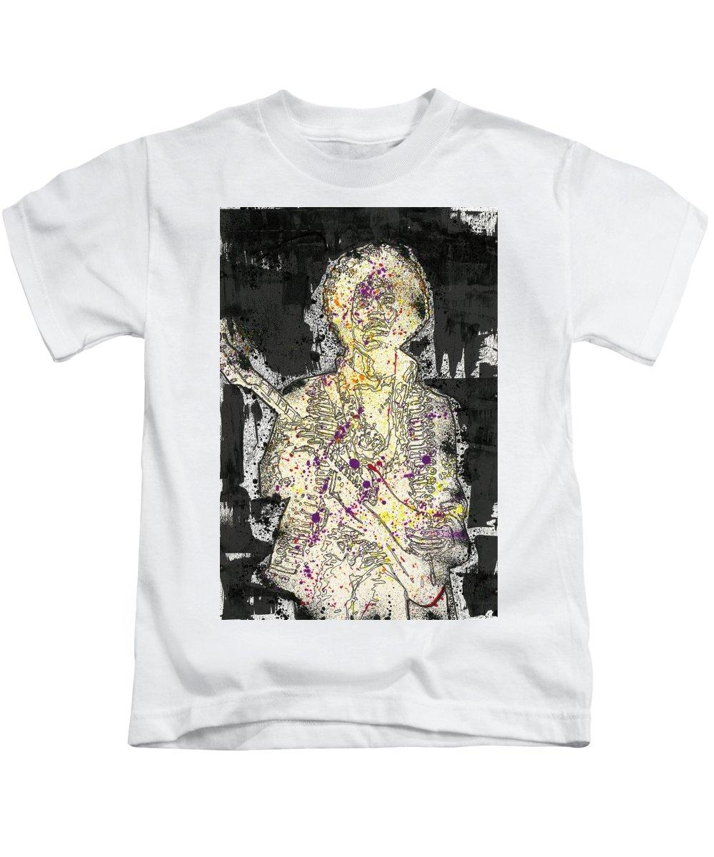 Mixedmedia Kids T-Shirt featuring the mixed media Jimi Hendrix by Zine Designs