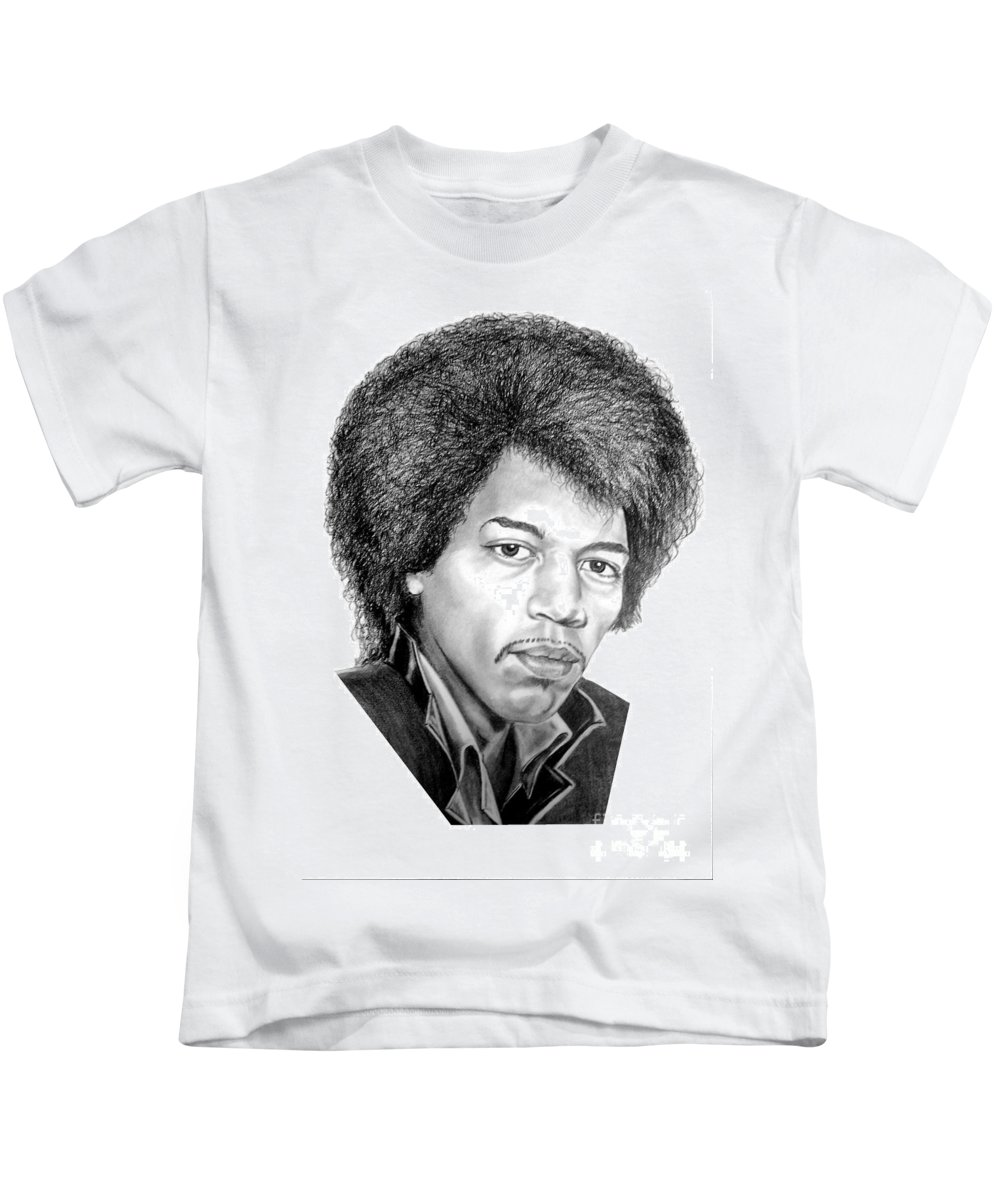 Jimmi Hendrix Kids T-Shirt featuring the drawing Jimmi Hendrix By Murphy Art. Elliott by Murphy Elliott