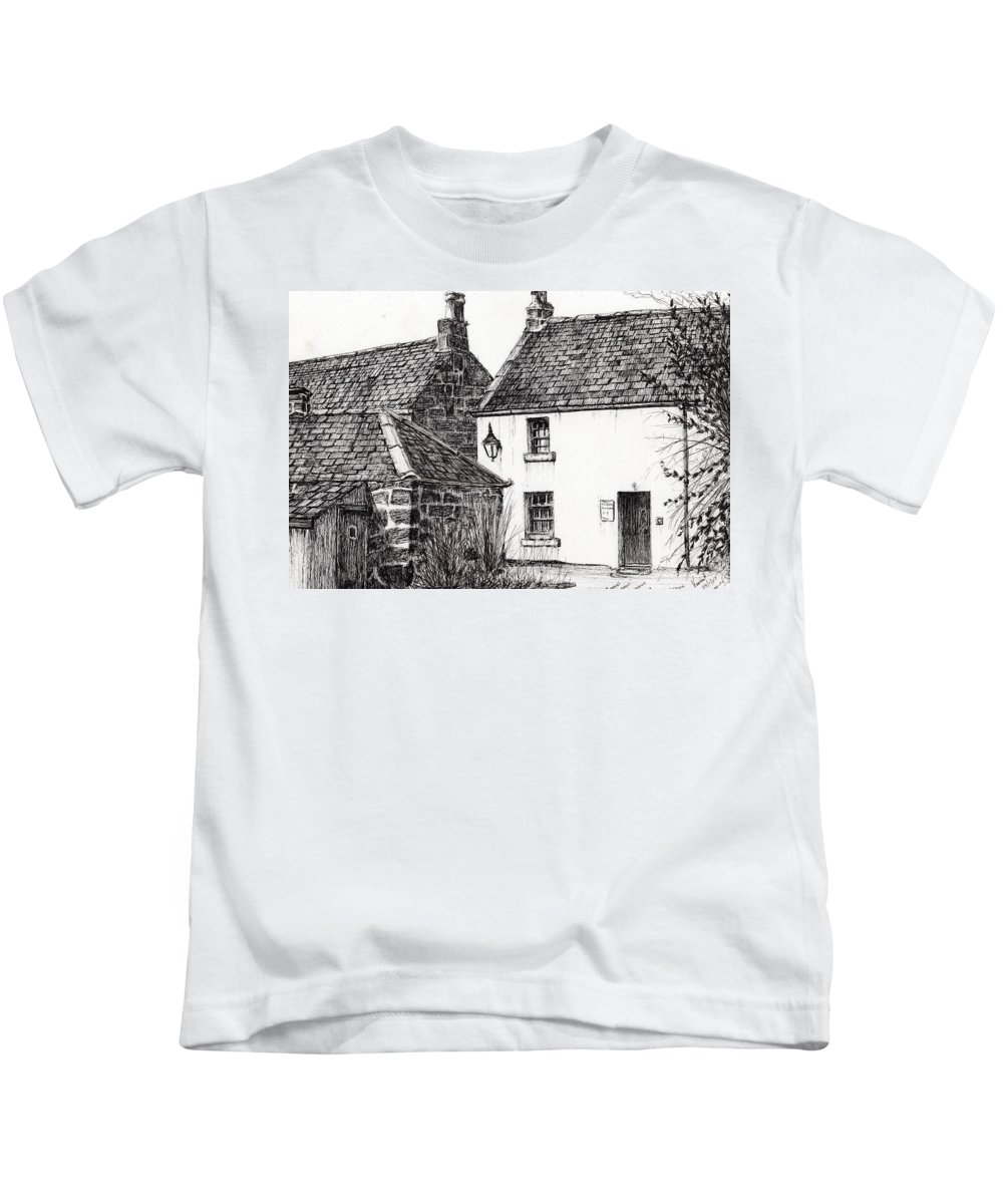 James Matthew Barrie Kids T-Shirt featuring the drawing Jm Barrie's Birthplace by Vincent Alexander Booth