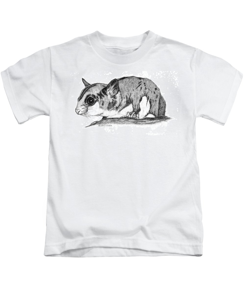 Sugar Glider Kids T-Shirt featuring the drawing Joey by Kristen Wesch